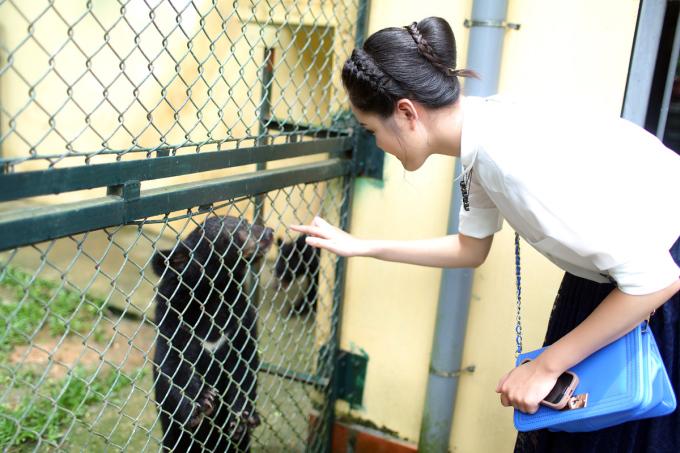 <p> Cô nàng thích thú khi vui đùa cùng những chú gấu.</p>