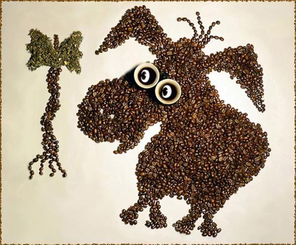 Tác phẩm đẹp xếp khéo léo từ hạt cà phê