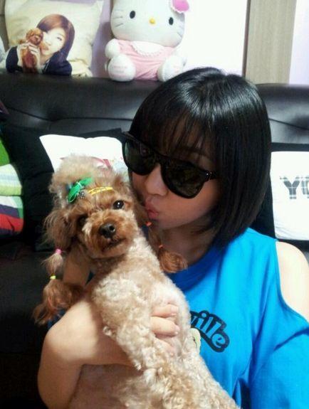 <p> Minzy 2NE1 và chú cún Dougie.</p>