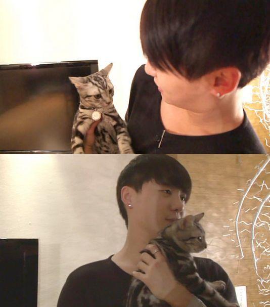 <p> Jun Su bên chú mèo cưng Tigger.</p>