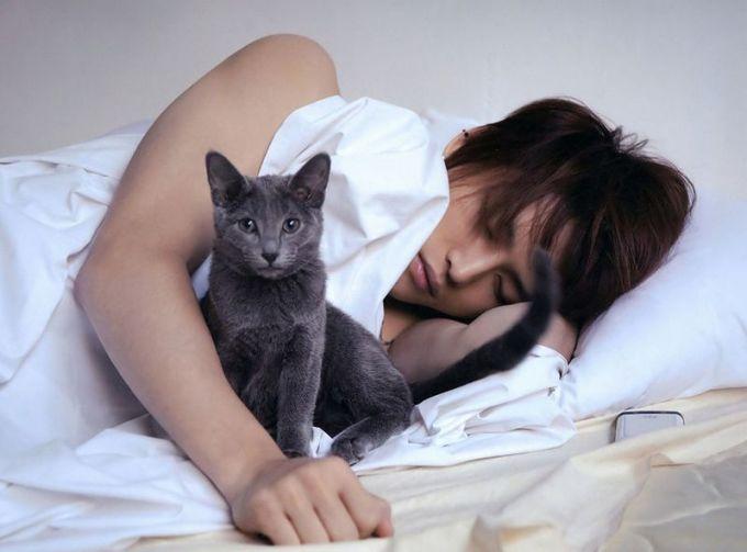 <p> Jae Joong JYJ và chú mèo Jiji.</p>