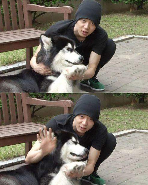 <p> Micky Yoo Chun JYJ bên cún Ha Rang.</p>