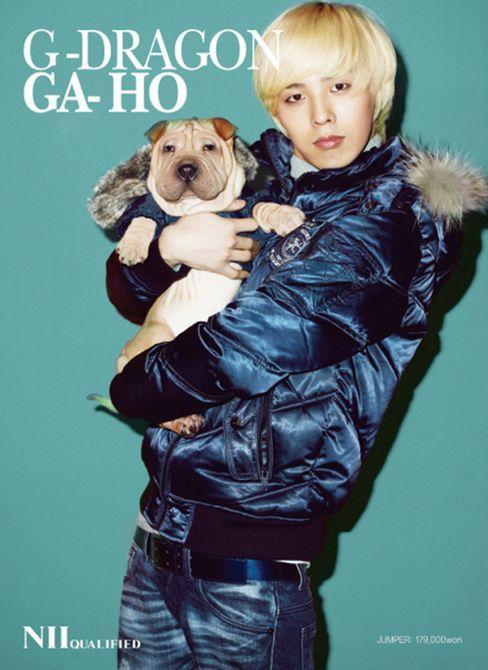 <p> G-Dragon và chú cún Ga Ho.</p>