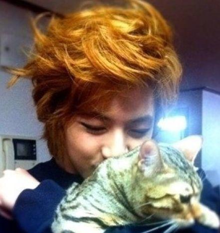 <p> Thunder MBLAQ và chú mèo Da Doong.</p>
