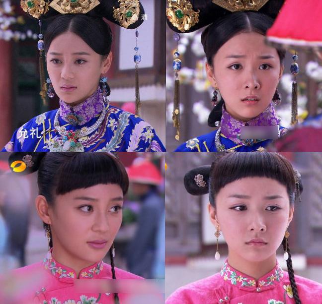 <p> <em>Cung tỏa châu liêm</em>: Hai nhân vật Liên Nhi và Dung Nhi của Viên San San và Khương Thụy Giai có phục trang, kiểu tóc, trang sức y hệt nhau.</p>