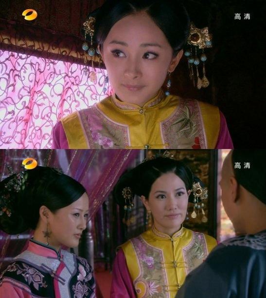 <p> <em>Cung tỏa tâm ngọc</em>: Dương Mịch và nữ diễn viên đóng vai bà chủ thanh lâu Cửu di nương thay nhau mặc một bộ đồ diễn.</p>