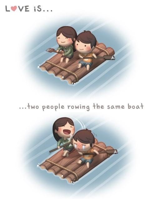 <p> Cùng nhau chia sẻ một con thuyền.</p>