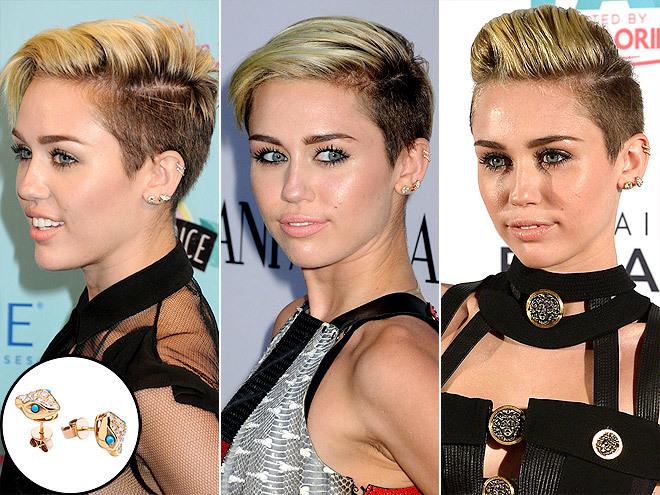 <p> Đôi khuyên nhỏ xíu hình đầu rắn này là món trang sức cá tính được Miley cưng chiều thời gian gần đây.</p>