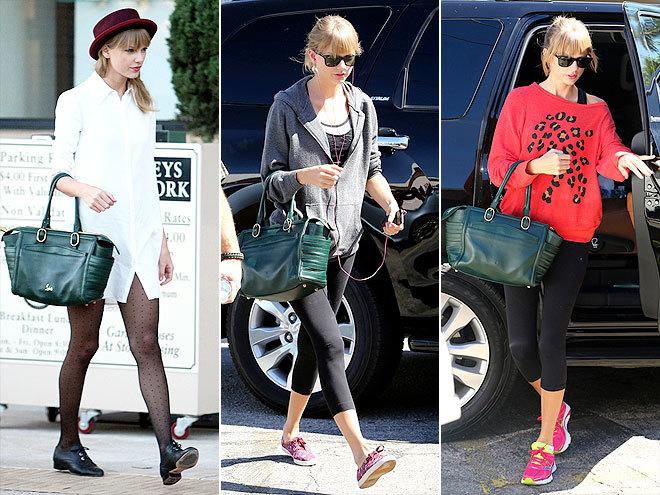 <p> Sau loạt túi sachel năng động, bộ sưu tập túi của Taylor Swift có thêm chiếc túi xách xanh đậm - một gam màu khá kén trang phục.</p>