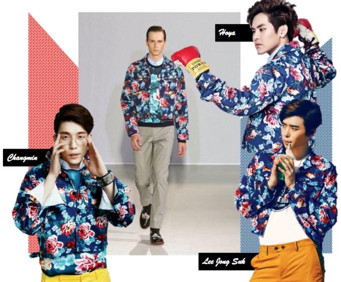 <p> 3 sao nam cùng mê mẩn áo khoác hoa điệu đà của thương hiệu Wooyoungmi.</p>
