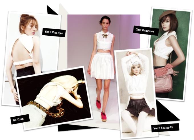 <p> Thiết kế sơ mi trắng trên sàn diễn rất trẻ trung, trong sáng, tuy nhiên khi vào tay Yoon Eun Hye, Ga Yoon, Choi Kang Hee và Yoon Seung Ah, món đồ này lại trở nên vô cùng gợi cảm.</p>