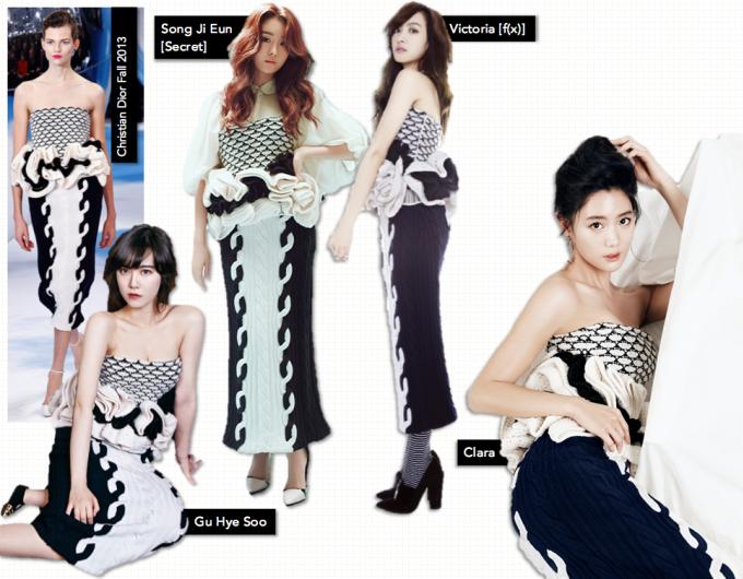 <p> Chiếc váy độc đáo của Christian Dior được 4 sao Hàn cùng chọn mặc. Trong khi Goo Hye Sun trong sáng, Clara gợi cảm, thì Song Ji Eun và Victoria lại diện theo phong cách ấn tượng.</p>