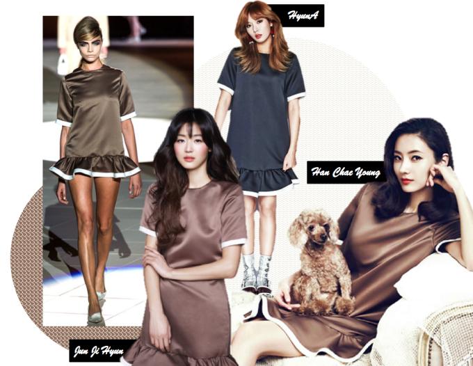 <p> Váy loe của Marc Jacobs giúp HyunA, Jun Ji Hyun và Han Chae Young khoe vẻ đẹp trẻ trung, xinh xắn như búp bê.</p>