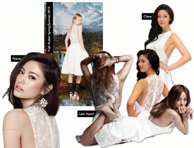 <p> Thật khó để nhận xét 3 mỹ nhân hàng đầu showbiz Hàn Nana, Lee Hyori và Clara ai tỏa sáng hơn với chiếc váy pha ren lưng này.</p>