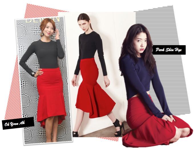 <p> Oh Yoon Ah đọ dáng chuẩn với Park Shin Hye khi cùng diện chân váy loe đúng mốt của thương hiệu DEMIN.</p>