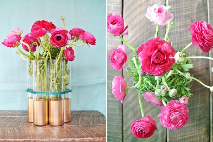 """<p style=""""text-align: center;""""> Cuối cùng, bạn cắm những bông hoa tươi vào mỗi cốc với chiều dài bằng nhau hoặc thấp dần xung quanh đều được nhé.</p>"""