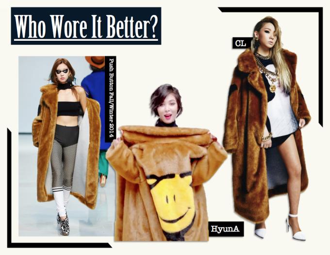 <p> Áo khoác lông to sụ độc đáo và hầm hố của thương hiệu Push Button là món đồ giúp HyunA, CL thể hiện sự cá tính.</p>