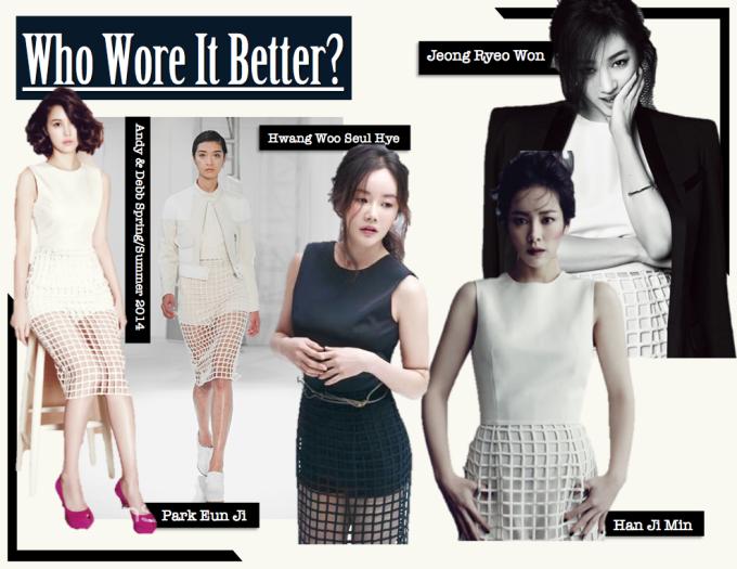 """<p> Hàng loạt mỹ nhân Hàn đều """"đổ gục"""" trước vẻ thanh lịch của chiếc váy pha lưới từ thương hiệu Andy & Debb.</p>"""