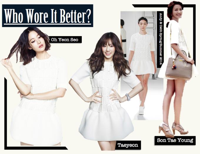 <p> Sắc trắng tinh khôi từ chiếc váy Andy & Debb mang đến vẻ thanh lịch, ngọt ngào cho Oh Yeon Seo, Tae Yeon và Son Tae Young.</p>