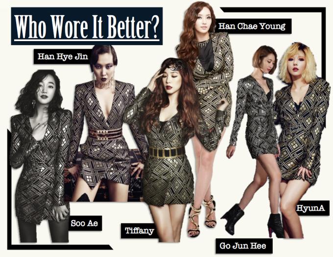 <p> Chiếc váy ánh kim với những đường khối mạnh mẽ của Balmain được hàng loạt sao Hàn từ Han Hye Jin, Soo Ae, Han Chae Young cho đến Tiffany, Go Jun Hee và HyunA đều chọn mặc và diện theo cách sang trọng, sành điệu như nhau.</p>