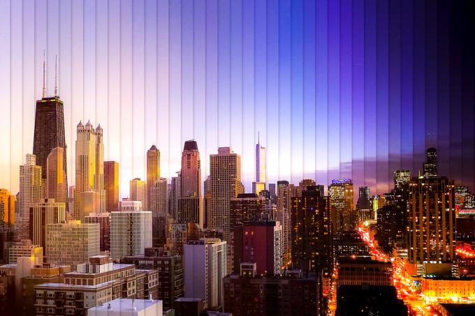 <p> Thành phố Chicago khi chiều tà cho đến khi lên đèn trong 39 bức ảnh.</p>
