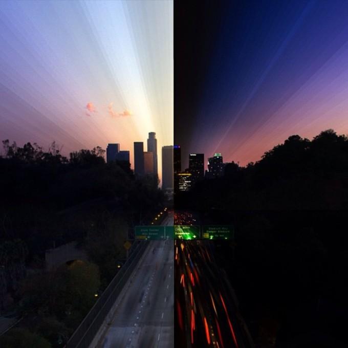 <p> Cầu Park Row (Los Angeles) ngày và đêm.</p>