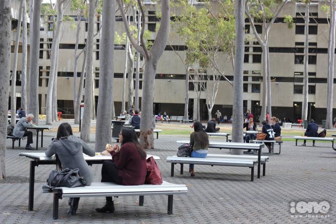 <p> Trường tớ rộng nên có nhiều khuôn viên cho sinh viên ăn trưa, ngồi học hay tán gẫu với bạn bè.</p>