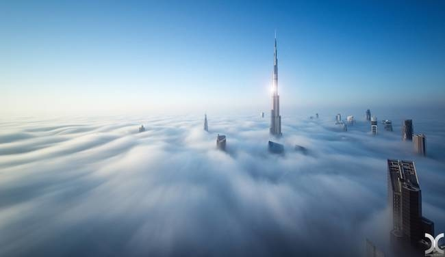 <p> Chùm ảnh được ghi lại từ trên cao, khi Dubai còn chìm đắm trong lớp sương mù do biến đổi thời tiết.</p>