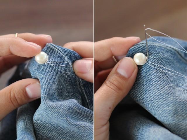 Tung tăng đầu năm mới tới trường với quần jeans đính hạt