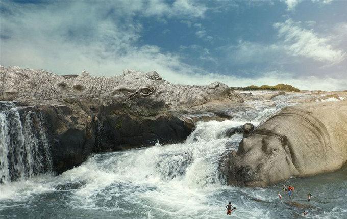 <p> Cá sấu và hà mã biến thành những bờ đá khổng lồ tạo thác ghềnh chảy xiết trên sông.</p>