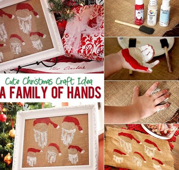 <p> Để có bức tranh ông già Noel, em bé chỉ cần vẽ một chút màu nước lên tay, rồi ấn xuống một cái mà xong nhé.</p>