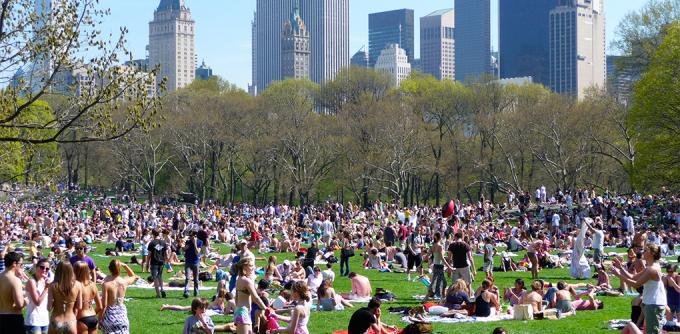 <p> <strong>Công viên New York</strong></p> <p> Central Park ở New York là nơi tập kết của giới trẻ mê picnic, tắm nắng hoặc đơn giản chỉ là cần nơi tụ họp. Mùa đông, bạn còn có thể trượt tuyết tại đây.</p>