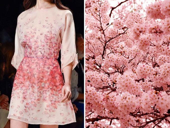 <p> Thiết kế củaBlumarine mang đậm màu sắc hoa anh đào Nhật Bản.</p>
