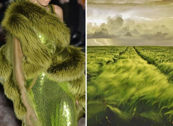 <p> Những cánh đồng cỏ bao la với màu xanh mê hoặc đã có mặt trong bộ sưu tập mùa đông của Gucci 2014.</p>