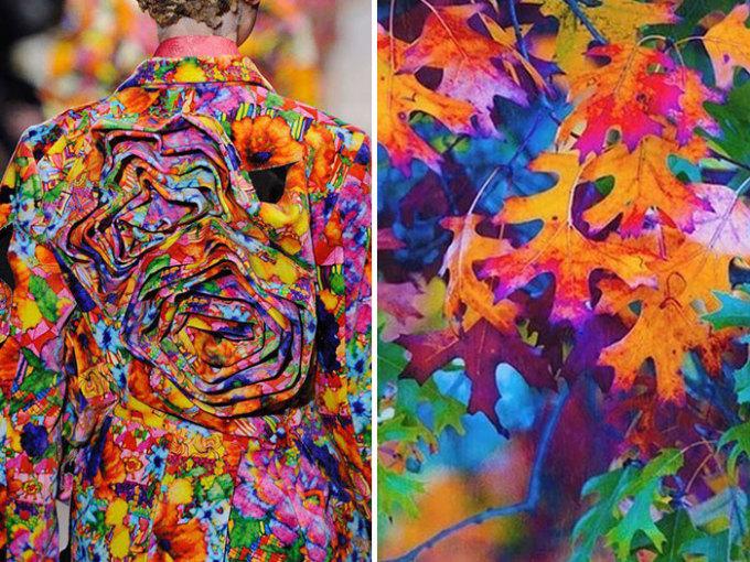 <p> Sắc màu phong phú của thiên nhiên được bê cả lên chiếc váy củaComme des Garçons.</p>
