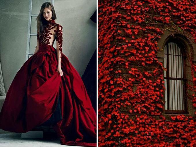 <p> Hàng dây leo lá đỏ như được in chi tiết lên chiếc váy dạ hội cực tinh tế củaMarchesa.</p>