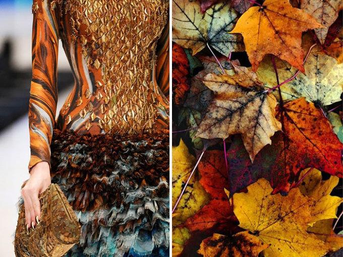 <p> Những chiếc lá mùa thu có mặt đủ cả trong chiếc váy củaAlexander McQueen 2010.</p>