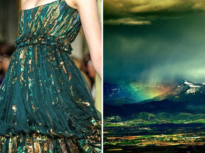 <p> Từng cơn mưa trên triền núi hiện lên sống động trong chiếc váy củaEmilio Pucci.</p>
