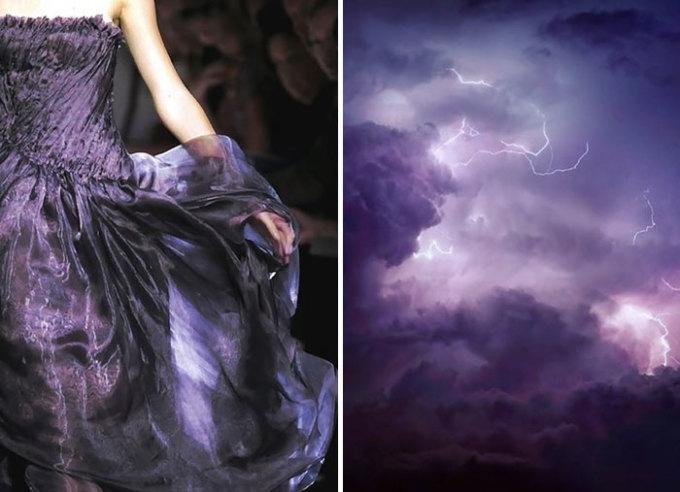 <p> Chiếc váy nằm trong bộ sưu tập 2010 của thương hiệu Bottega Veneta mang hình bóng bầu trời trước giông bão.</p>
