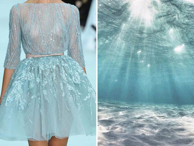 <p> Chiếc váy xanh ngọc kiêu kỳ như công chúa của Elie Saab Skhiến người ta liên tưởng đến những bờ biển trong vắt miền nhiệt đới.</p>