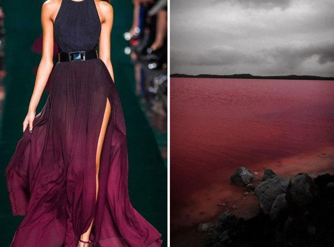 <p> Một thiết kế khác củaElie Saab S đong đầy sắc màu của hồ nước hồng, Australia.</p>