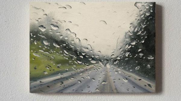 Tranh 3D y hệt mưa qua cửa kính