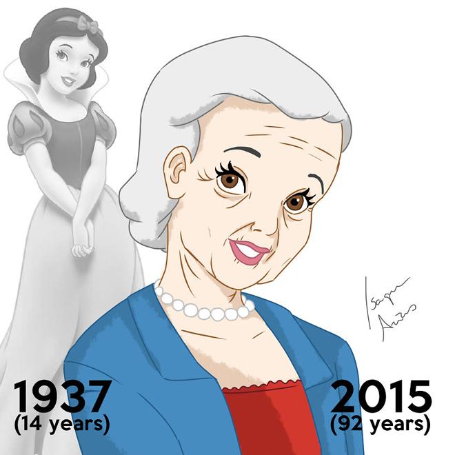 <p> Công chúa Bạch Tuyết lần đầu xuất hiện là năm 14 tuổi, vậy mà đã 92 tuổi rồi.</p>