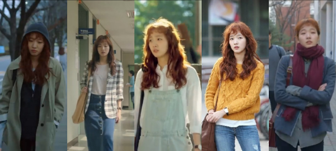 <p> <strong>1. Hong Seol (Cheese In the Trap): </strong>Hong Seol mê hoặc khán giả bằng phong cách sinh viên vừa tiện dụng vừa trẻ trung, sành điệu. Cô nàng thường kết hợp những món đồ cơ bản như áo sơ mi, chân váy bút chì, quần jean, áo len với màu sắc tươi sáng. Những set đồ của Hong Seol rất dễ ứng dụng và có thể hợp với mọi dáng người.</p>