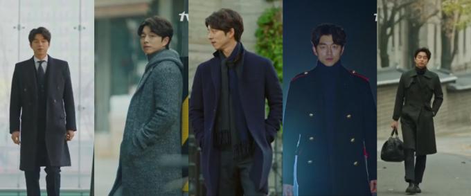 """<p> <strong>2. Kim Shin (Goblin):</strong> Kim Shin chắc chắn là """"ông chú"""" sành điệu bậc nhất trên màn ảnh Hàn. Sở hữu tài sản kếch xù, không khó hiểu khi chàng yêu tinh chọn toàn trang phục hàng hiệu lịch lãm, sang trọng. Các kiểu áo măng tô, áo khoác len dáng dài và len cao cổ được Kim Shin yêu thích nhất. Kiểu trang phục này tôn vóc dáng cao ráo, cân đối của nam diễn viên Gong Yoo.</p>"""