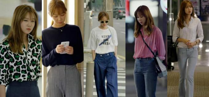 <p> <strong>3.Ji Hae Soo (It's Okay, That's Love):</strong>Gong Hyo Jin ngoài đời nổi tiếng với gu thời trang tinh tế nên khi hóa thân thành Ji Hae Soo, cô đã chinh phục người xem với tủ quần áo đẹp mê mệt. Hae Soo là một người phụ nữ thành công, độc lập, điều này được thể hiện qua style ăn mặc thời thượng và thanh lịch. Hae Soo đặc biệt hay phối quần jean loe, quần suông hay cullotes với các kiểu áo phông và sơ mi bắt mắt.</p>