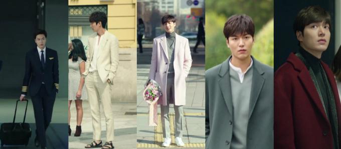 """<p> <strong>5. Heo Joon Jae (Huyền thoại biển xanh):</strong> Hiếm có nhân vật nào Lee Min Ho đóng mà ăn mặc không đẹp, Heo Joon Jae cũng không phải ngoại lệ. """"Thiên tài lừa đảo"""" đốn tim fan nữ bằng những bộ vest tuyệt đẹp khoe trọn dáng người cao ráo, đôi chân dài """"tít tắp"""". Heo Joon Jae thường phối đồ với các item sáng màu. Mỗi lần thay đổi thân phận, anh chàng lại thử nghiệm một style khác.</p>"""