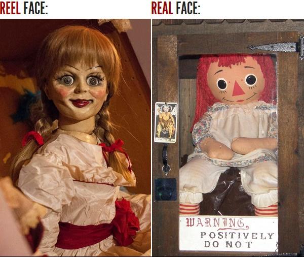 Búp bê Annabelle trong phim (bên trái) và búp bê Annabelle ngoài đời thực (bên phải)