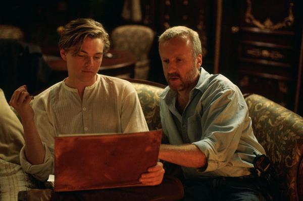 Đạo diễn James Cameron và Leonardo DiCaprio.