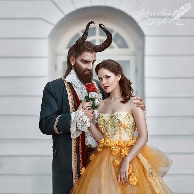 <p> Cặp đôi Bella và Adam trong câu chuyện cổ tích 'Người đẹp và Quái vật'.</p>